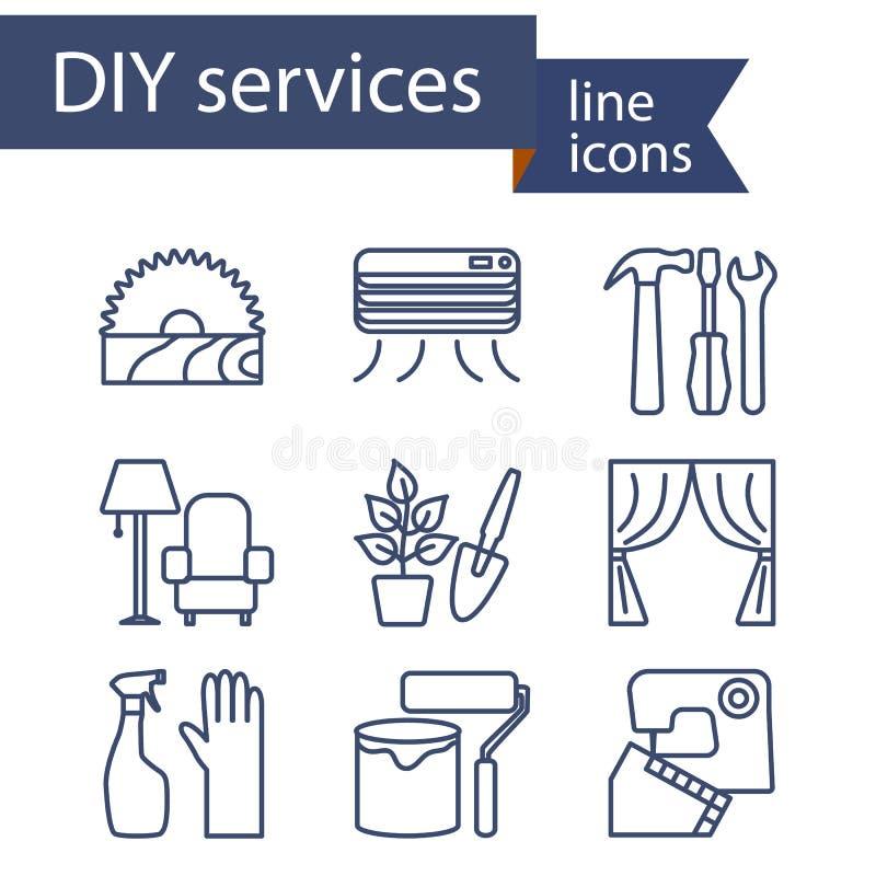 Ensemble de ligne icônes pour des services de DIY illustration libre de droits