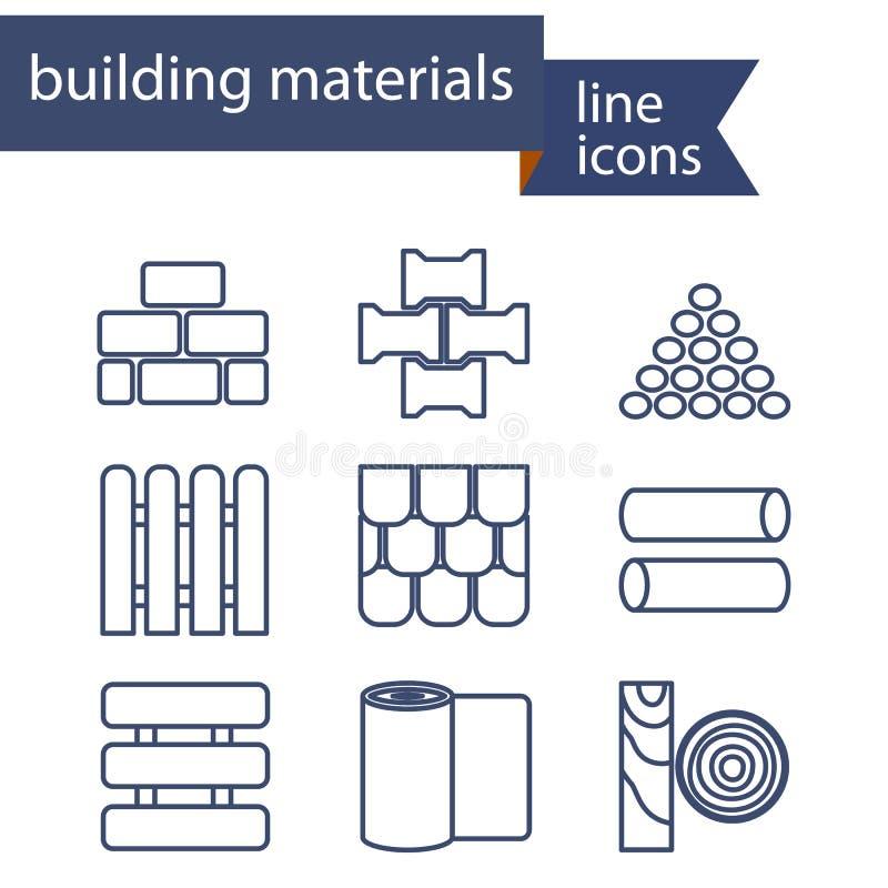 Ensemble de ligne icônes pour DIY, construction, construisant illustration de vecteur