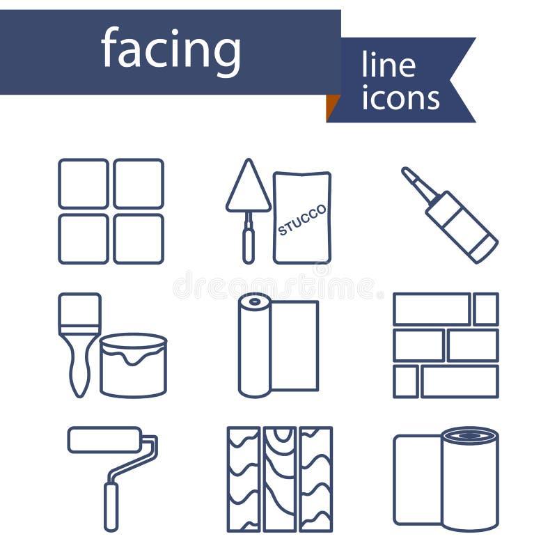 Ensemble de ligne icônes pour DIY, matériaux de finition illustration de vecteur