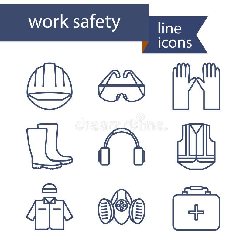 Ensemble de ligne icônes pour le travail de sécurité illustration libre de droits