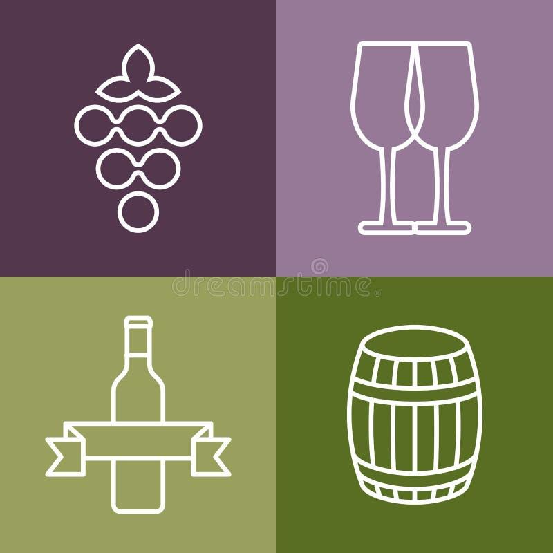 Ensemble de ligne icônes réglées La bouteille, le raisin et le verre de vin dirigent le logo illustration libre de droits