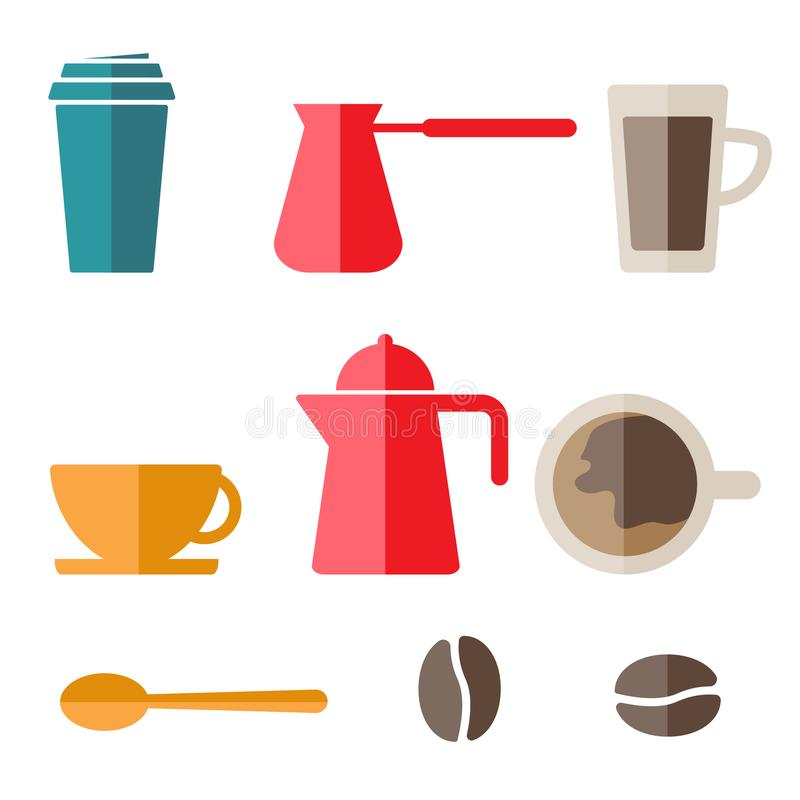 Ensemble de ligne ic?nes de vecteur de caf? et de th? Illustration d'actions de vecteur, ENV 10 illustration libre de droits