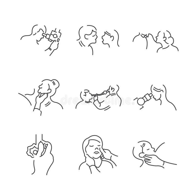 Ensemble de ligne médecins oto-rhino-laryngologie, exami physique d'icônes illustration libre de droits