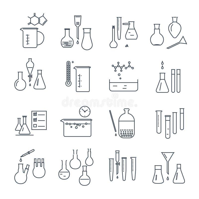 Ensemble de ligne mince équipement de laboratoire chimique d'icônes illustration libre de droits