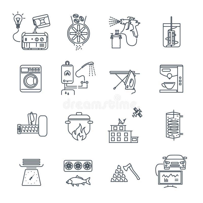 Ensemble de ligne mince appareils électroménagers d'icônes, équipement illustration libre de droits