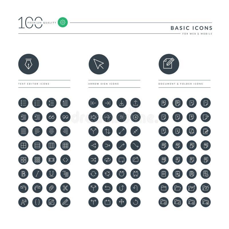 Ensemble de ligne mince de base icônes de Web illustration de vecteur
