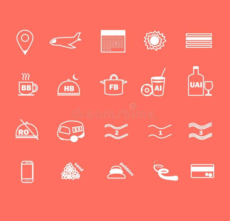 Ensemble de ligne mince icônes plates de conception de voyage et de services hôteliers illustration de vecteur