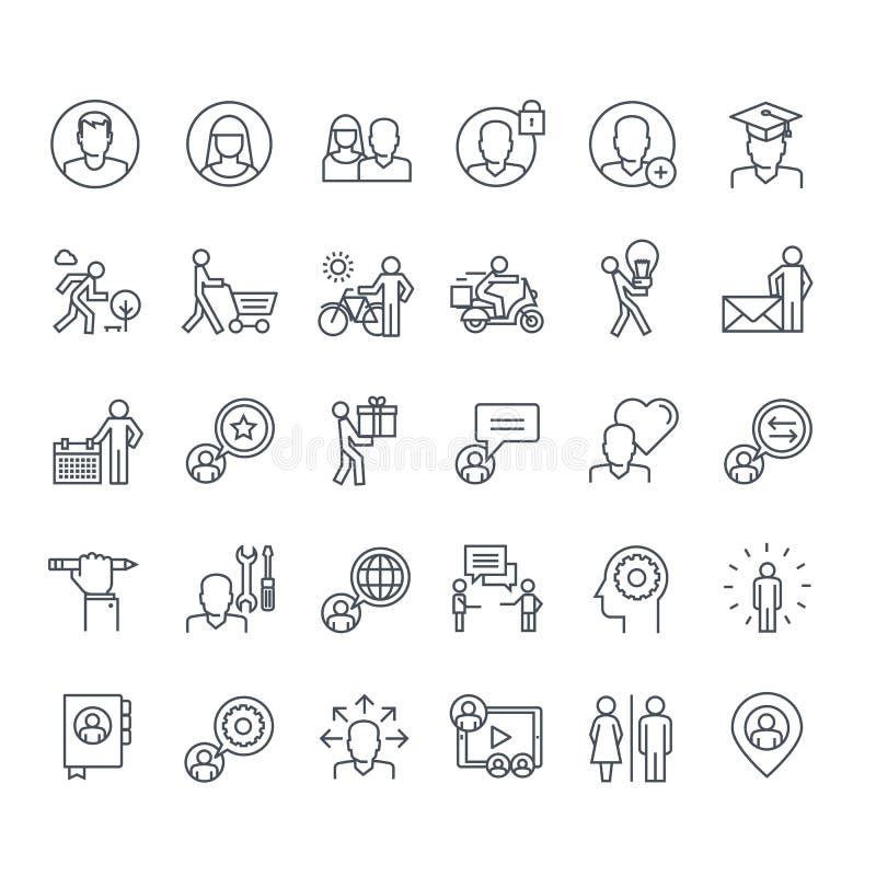 Ensemble de ligne mince icônes de personnes illustration libre de droits
