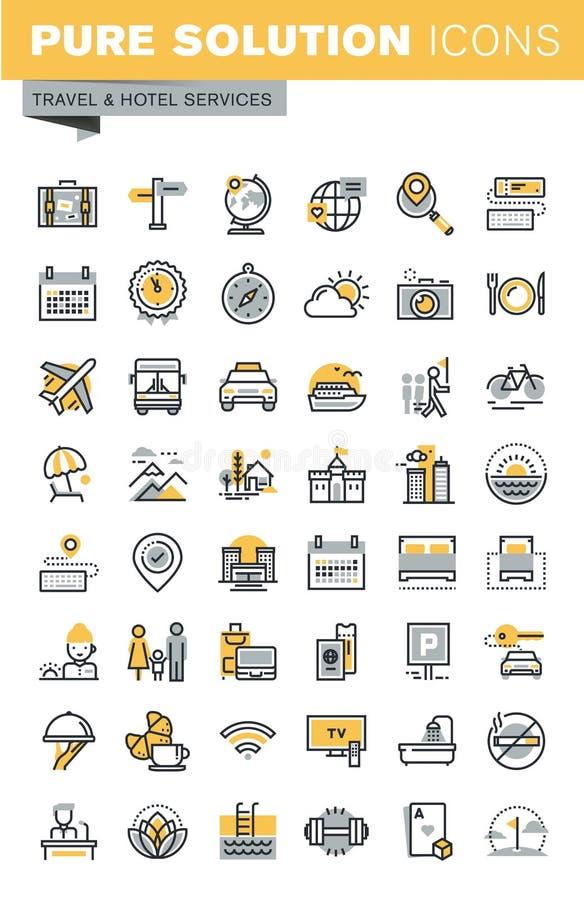 Ensemble de ligne mince icônes de vecteur moderne de voyage illustration libre de droits