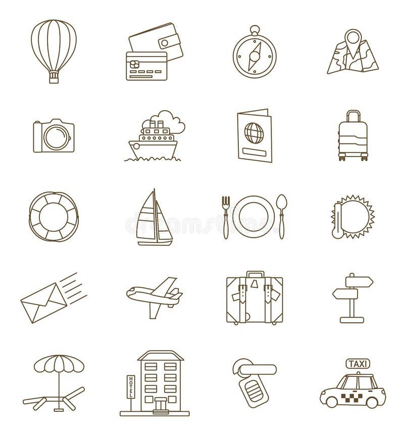 Ensemble de ligne mince icônes de voyage illustration stock