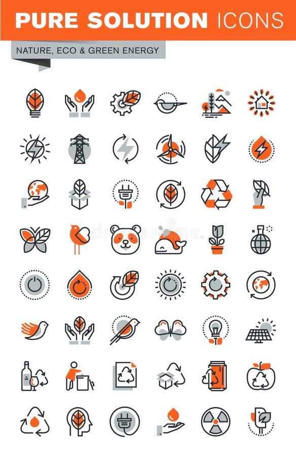 Ensemble de ligne mince icônes de Web d'environnement illustration libre de droits