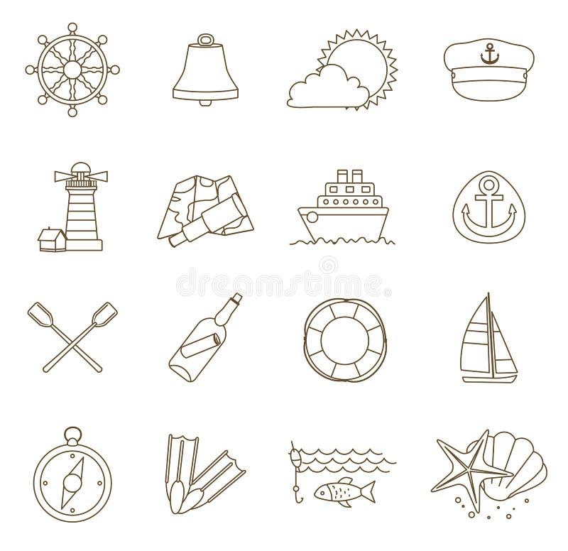 Ensemble de ligne mince icônes nautiques illustration libre de droits