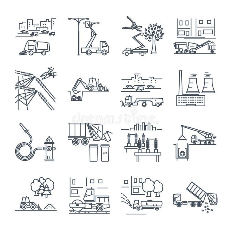 Ensemble de ligne mince icônes service collectif, construction illustration de vecteur