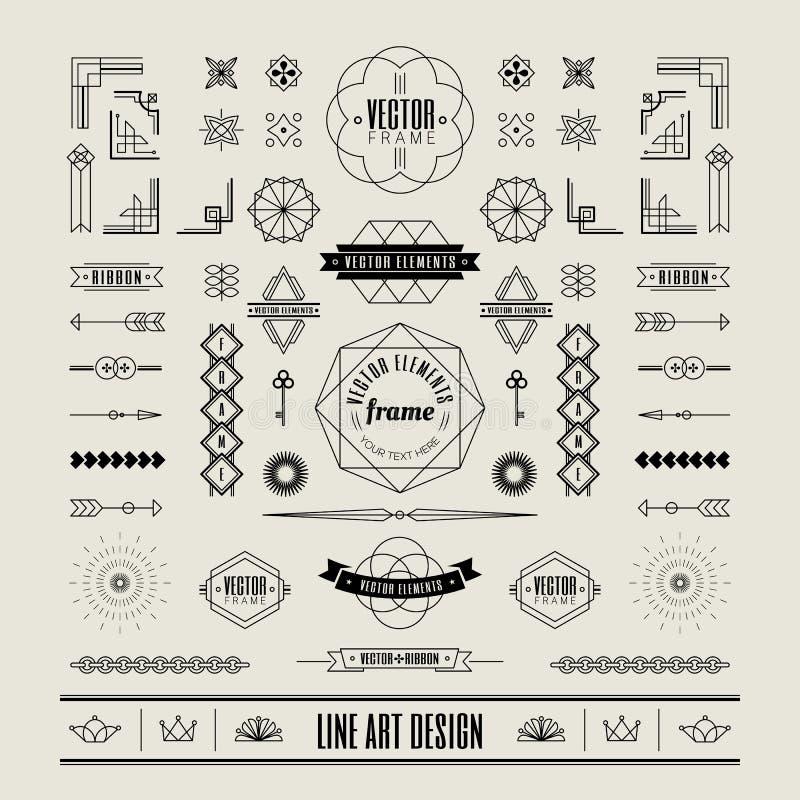 Ensemble de ligne mince linéaire rétro frontière de cadre de conception de vintage d'art déco illustration de vecteur