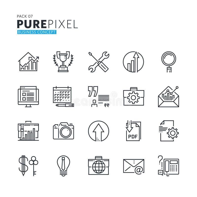 Ensemble de ligne mince moderne icônes parfaites de concept d'affaires de pixel illustration de vecteur