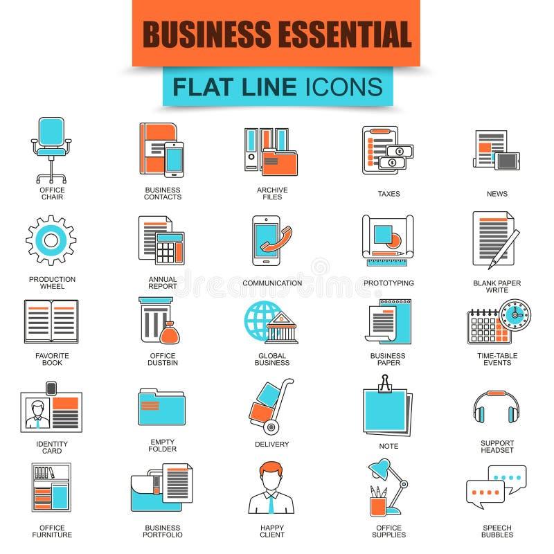 Ensemble de ligne mince outils d'affaires d'icônes, équipement essentiel de bureau illustration de vecteur