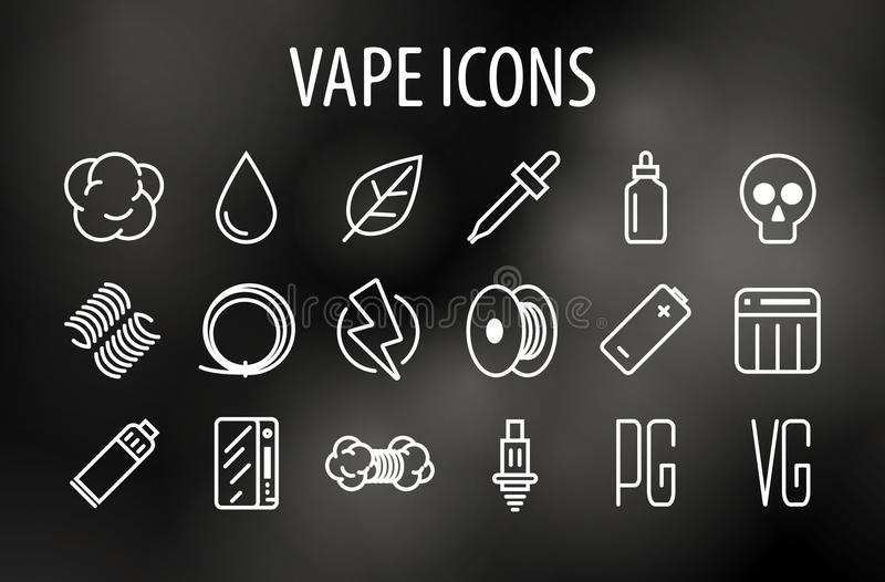 Ensemble de ligne minimale icônes de vecteur de culture de Vape Vaping illustration stock
