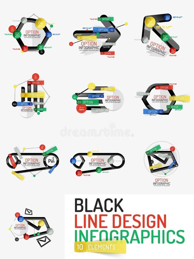 Ensemble de ligne minimale infographics de Web de bureau de conception illustration libre de droits