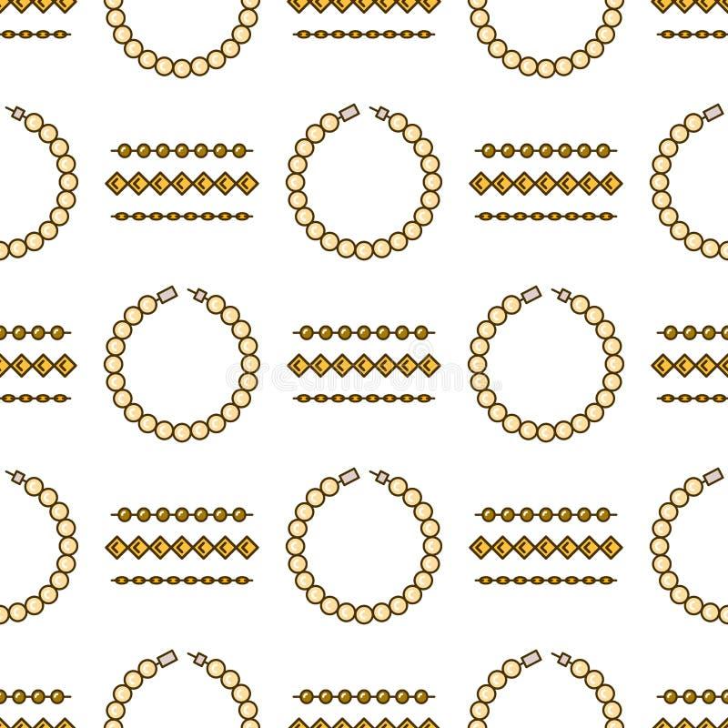 Ensemble de ligne modèle sans couture de bijoux de vecteur Collection colorée de luxe de diamant Silhouettes de chaîne et de brac illustration de vecteur