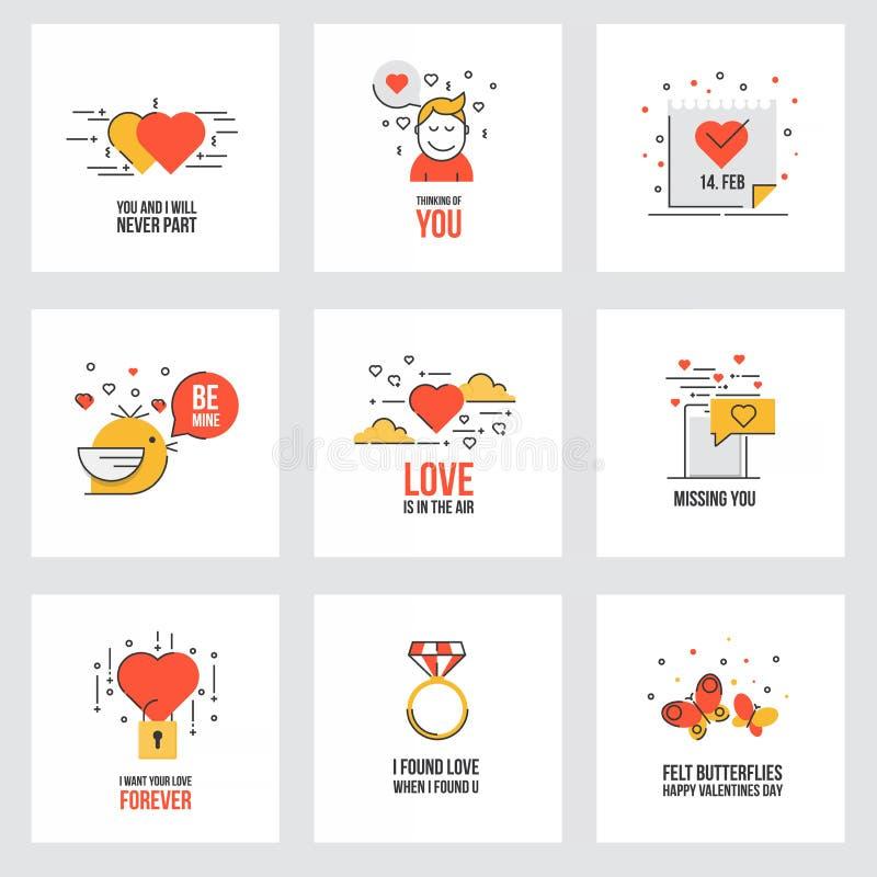 Ensemble de ligne plate cartes de Saint-Valentin de conception illustration de vecteur
