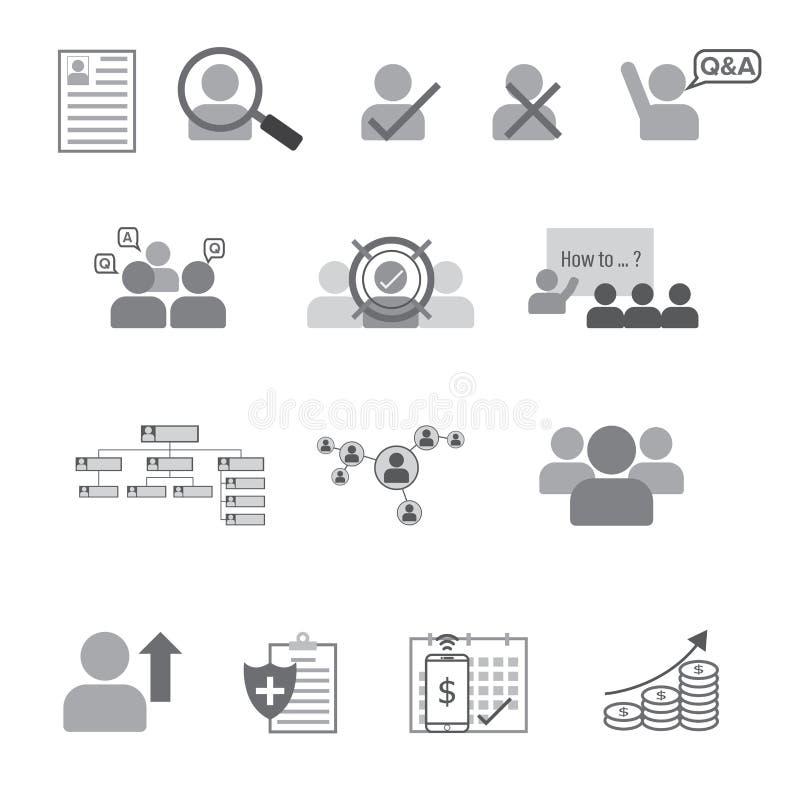 Ensemble de ligne plate icône de ressource humaine illustration libre de droits
