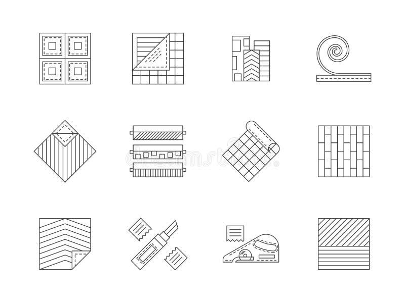 Ensemble de ligne plate icônes de matériaux de construction illustration stock