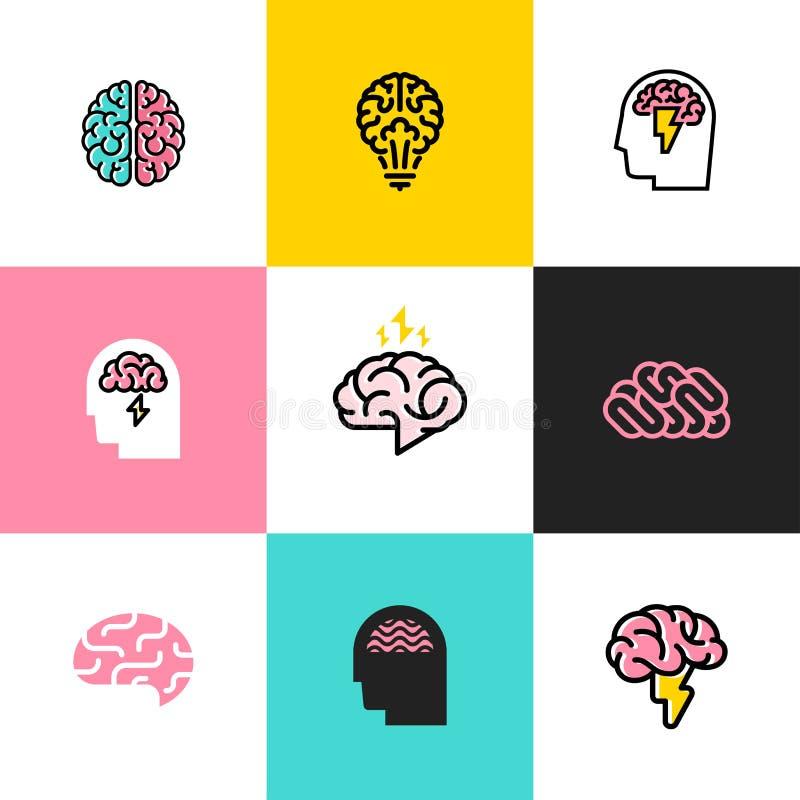 Ensemble de ligne plate icônes et de logos de cerveau, séance de réflexion, idée illustration libre de droits