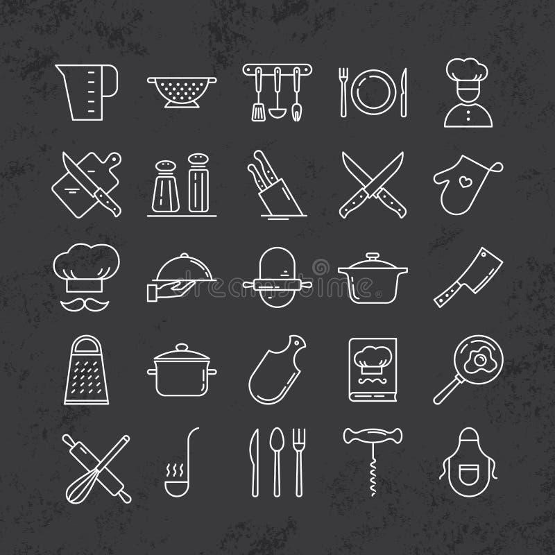 Ensemble de ligne propre icônes comportant de divers ustensiles de cuisine et faisant cuire les objets relatifs illustration libre de droits
