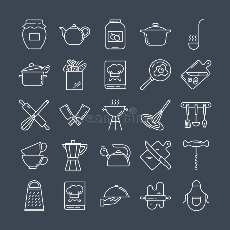 Ensemble de ligne propre icônes comportant de divers ustensiles de cuisine et faisant cuire les objets relatifs illustration de vecteur