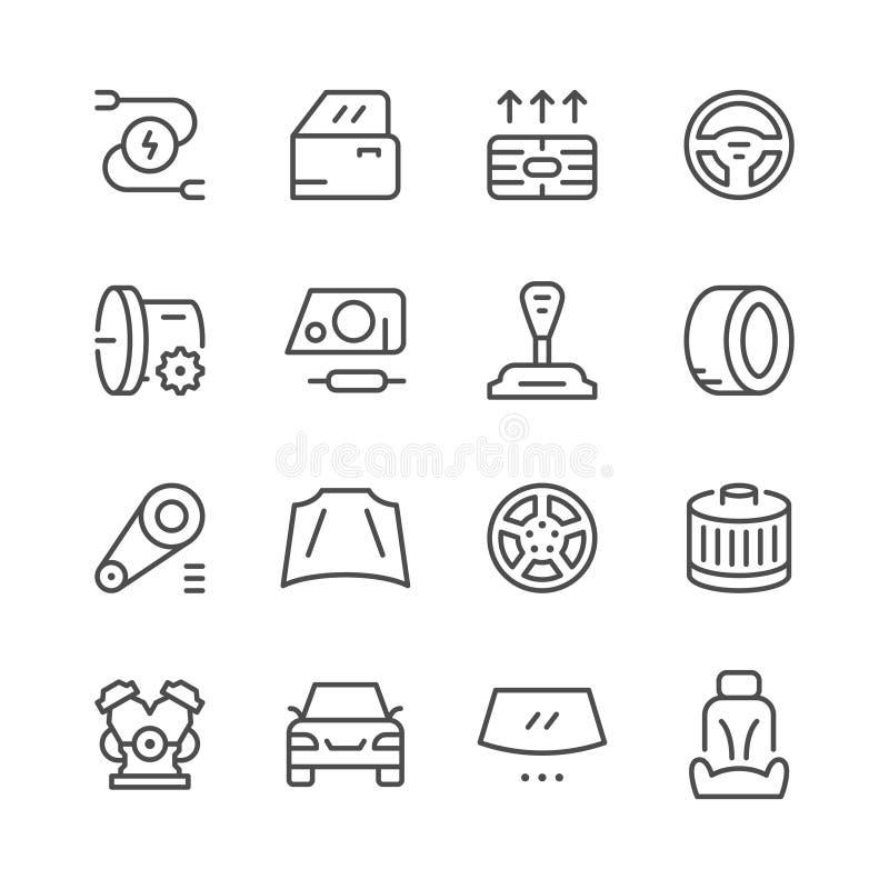 Ensemble de ligne relative icônes de voiture illustration de vecteur
