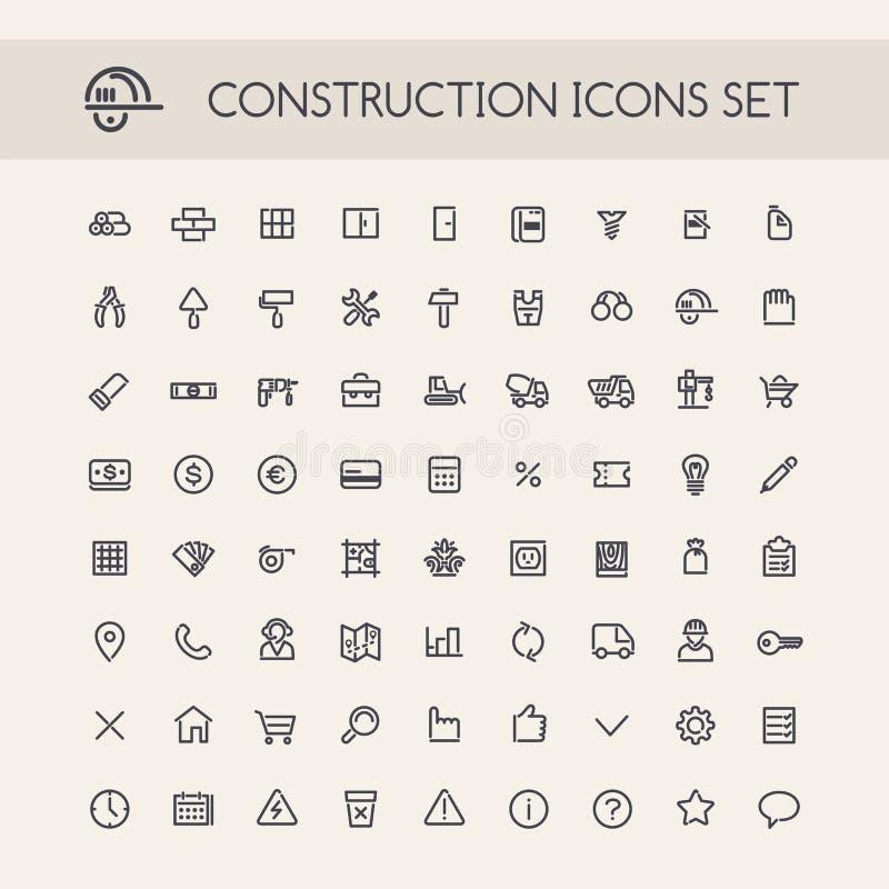 Ensemble de ligne ronde icônes de construction illustration de vecteur