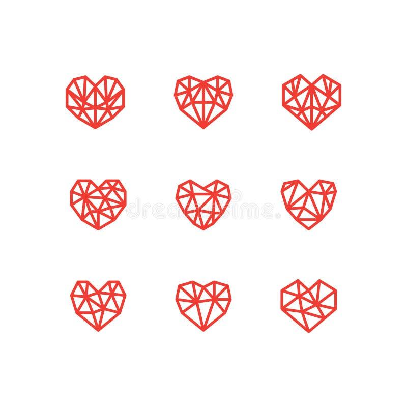 Ensemble de ligne simple ic?nes des coeurs Amour mariage Jour du `s de Valentine illustration stock