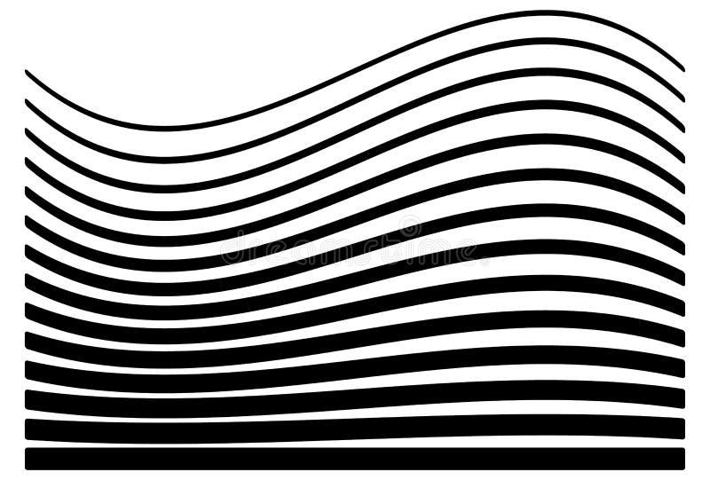 Ensemble de lignes avec le niveau différent de la déformation Geome abstrait illustration libre de droits