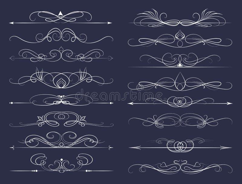 Ensemble de lignes calligraphiques illustration stock