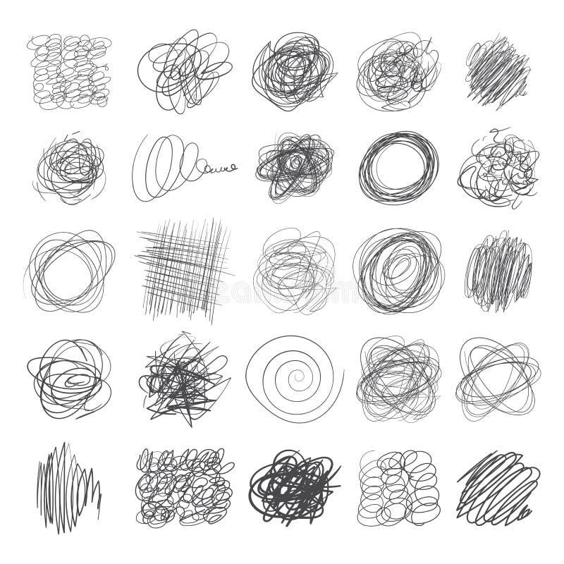 Ensemble de lignes d'encre des textures tirées par la main, griffonnages de stylo illustration stock