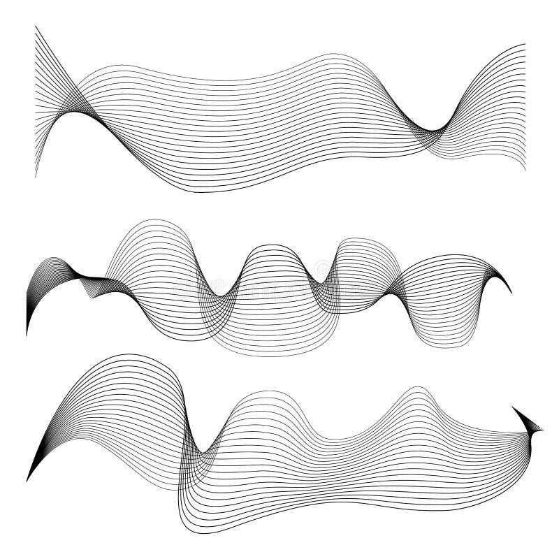 Ensemble de lignes douces abstraites d'isolement sur le fond blanc illustration de vecteur