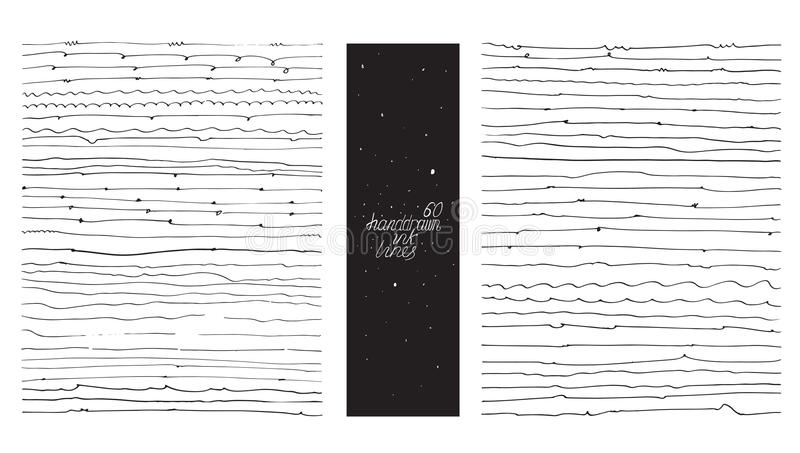 Ensemble de 60 lignes minces, fait avec la main et l'encre, à main levée, ornated, avec des boucles, des flourishes, gouttes de g illustration libre de droits