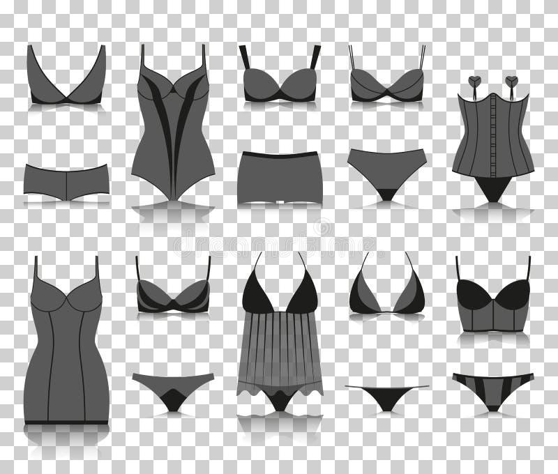Ensemble de lingerie Icônes de silhouette avec la réflexion sur le fond transparent illustration libre de droits