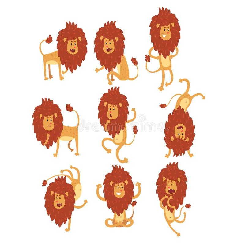 Ensemble de lion africain drôle dans différentes actions Caractère d'animal sauvage de bande dessinée Thème de zoo Conception pla illustration de vecteur