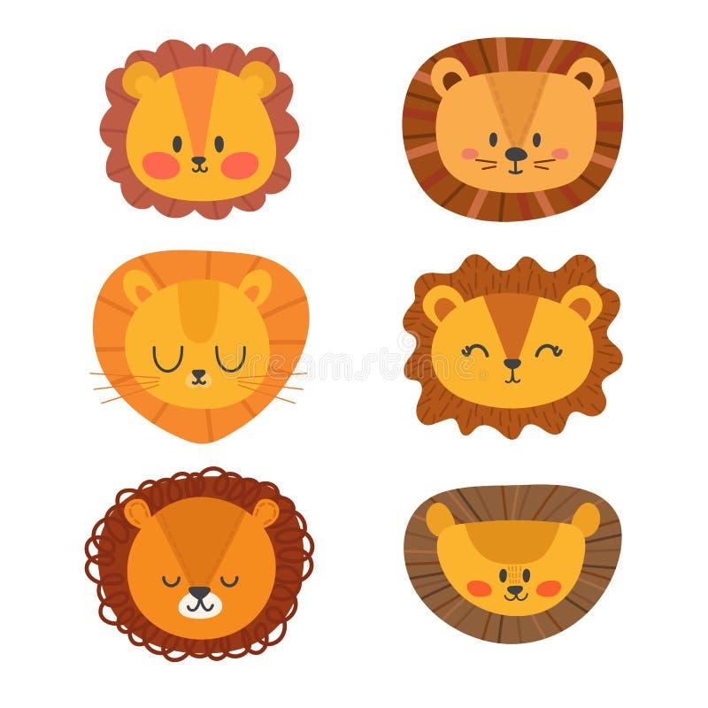 Ensemble de lions mignons Animaux drôles de griffonnage Petit lion dans le style de bande dessinée illustration stock