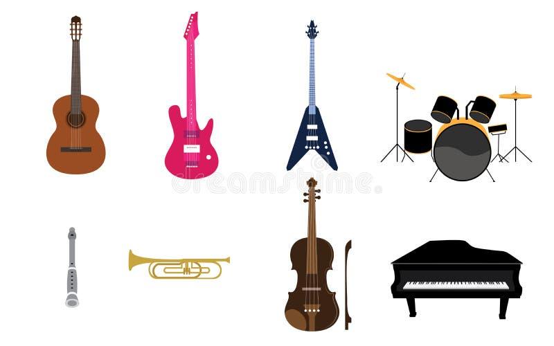 Ensemble de liste d'instruments de musique illustration stock