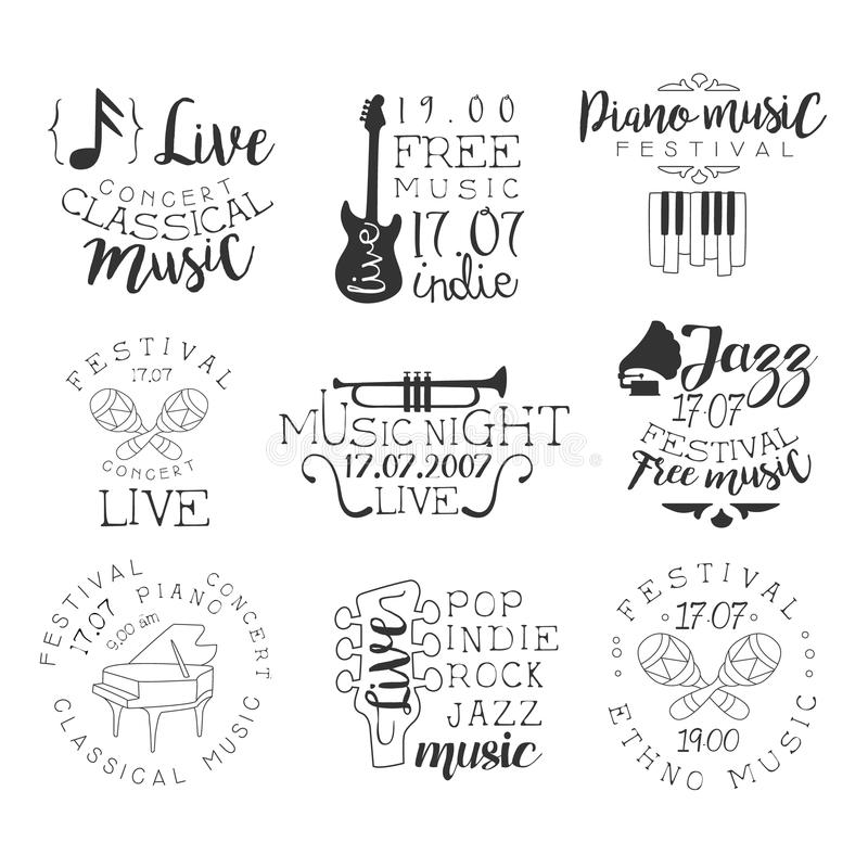 Ensemble de Live Music Hand Drawn Banner illustration stock