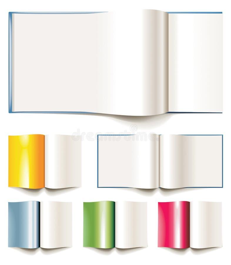 Ensemble de livres, de brochures ou de revues de blanc de vecteur illustration libre de droits