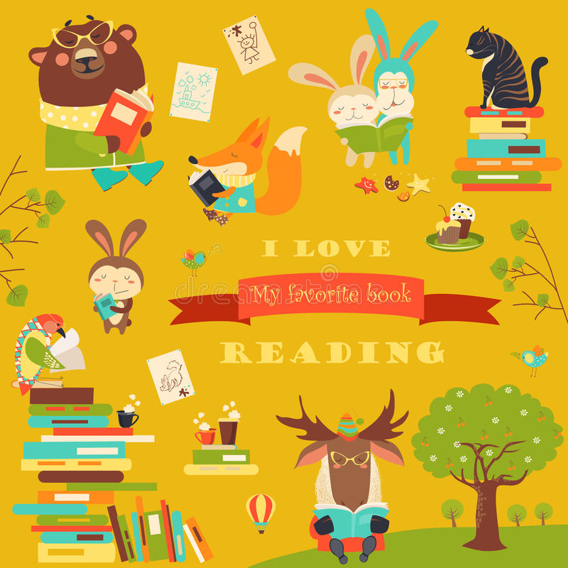 Ensemble de livres de lecture d'animaux de bande dessinée illustration de vecteur