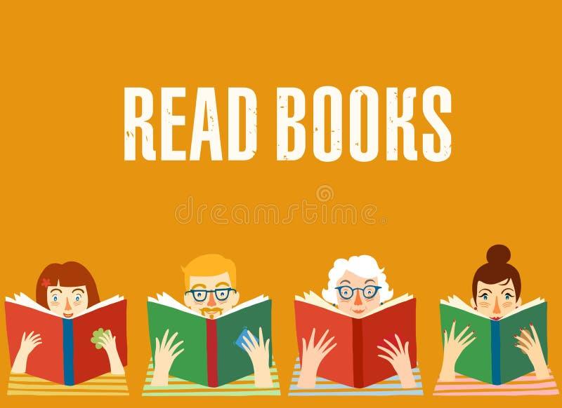 Ensemble de livres de lecture de personnes de bande dessinée illustration libre de droits