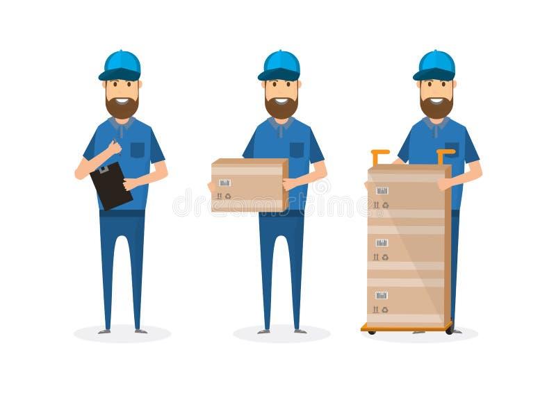 ensemble de livreur avec la boîte en carton illustration de vecteur