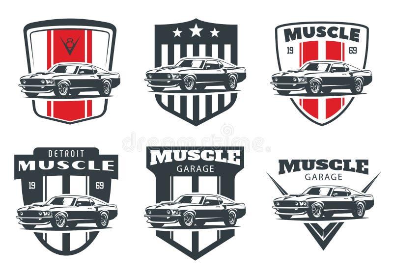 Ensemble de logo classique, d'emblèmes et d'insignes de voiture de muscle illustration stock