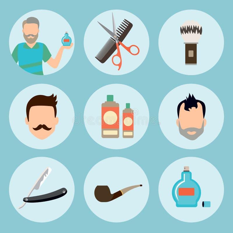 Ensemble de logo d'éléments de salon de coiffure de vintage, de labels, d'insignes et d'icône d'élément de conception dans l'appa illustration de vecteur