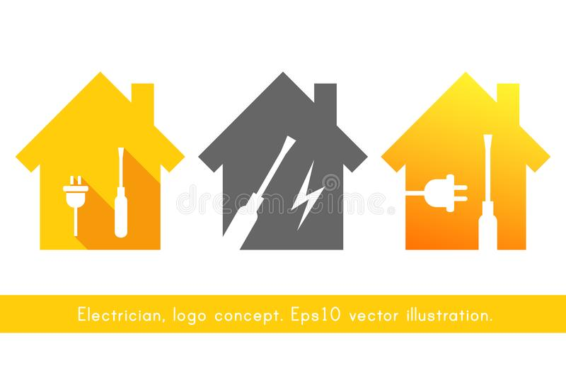 Ensemble de logo d'électricien illustration libre de droits