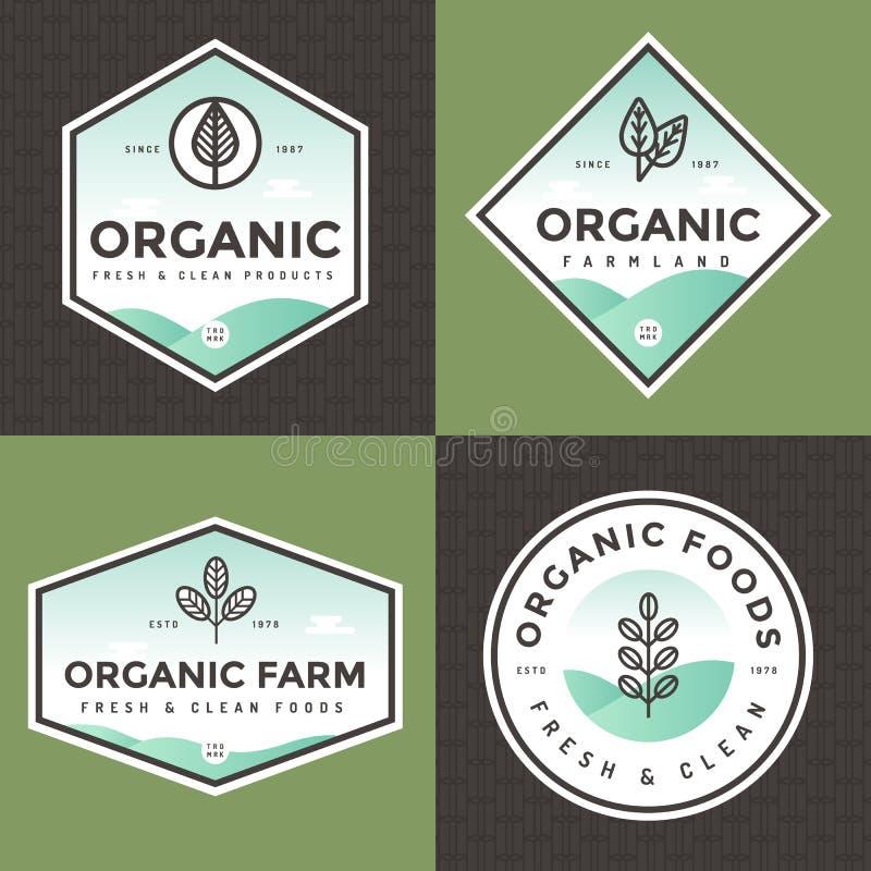 Ensemble de logo d'aliment biologique, insignes, bannières, emblème avec le modèle Conception de module Nettoyez la nourriture No illustration stock